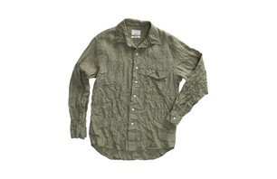 LEISURE L/S WOVEN SHIRT IN MOSS $82.00