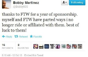 Bobby Martinez doesn't have a sponsor anymore, makes you wonder if he's going to start trying to mak