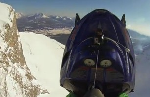 Madman Sends Snowmobile off 800-ft Cliff in Crazy BASE Jump