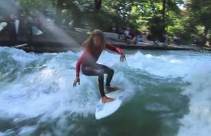 Pro Surfer Rob Machado Rides River Wave in Germany