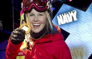 Sarah Burke wins Gold at the Women\'s Ski Pipe Final at Winter X Games 15 Credit: Tomas Zuccareno