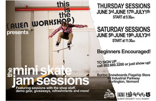Alien Workshop mini skate jam sessions in Vermont