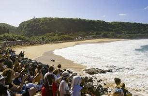 Large crowds swarmed Waimea Bay at the 2009 Quiksilver in Memory of Eddie Aikau.