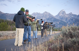 Thomas Mangelsen teaches wildlife photography in the field, Jackson Hole, WY.